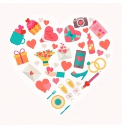 Love icons set in heart shape vector
