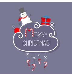 Snowman giftbox snowflake ball merry christmas vector
