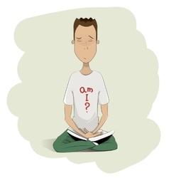 Young man meditating vector image