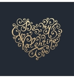 Happy valentines day golden lettering vector