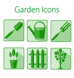 Green gardening icons set over a white background vector