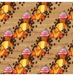 Croissant seamless pattern vector