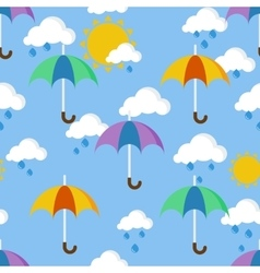 Bright seamless pattern with umbrellas in the rain vector image
