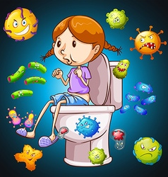 Bacteria all over the toilet vector