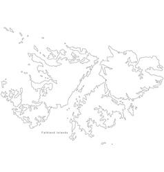Black White Falkland Islands Outline Map vector image