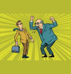 Boss scolds businessman vector