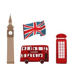 british symbols icon set vector image