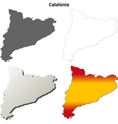 Catalonia blank detailed outline map set vector