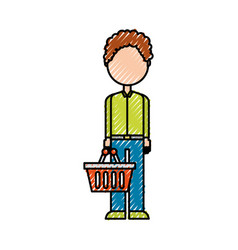 character with shopping basket standing on white vector image
