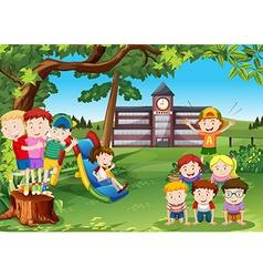 Children playing in the school yard vector
