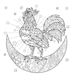 Cute cock rooster on christmas half moon vector