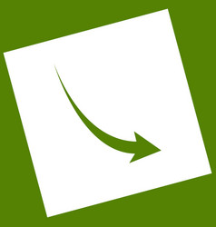Declining arrow sign white icon obtained vector