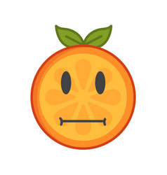 Emoji - no words straight orange smile isolated vector