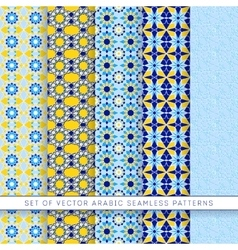 five blue-yellow arabic patterns vector image vector image