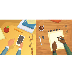 flat design top view on desk concept design vector image vector image