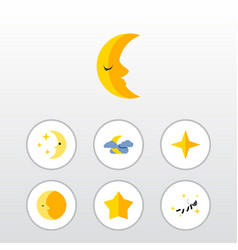 Flat icon bedtime set of star midnight night and vector
