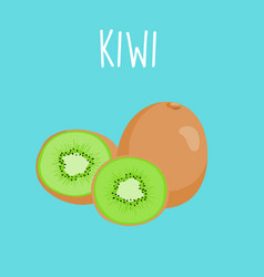 fresh kiwi on blue balckground vector image