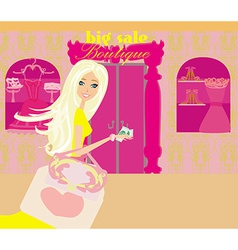 Girl on big shopping sale vector image vector image
