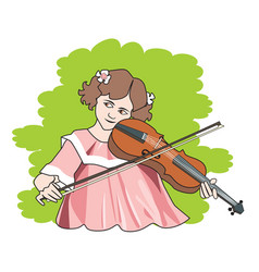 Girl playing the violin vector