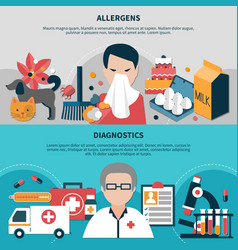Horizontal allergy banners set vector