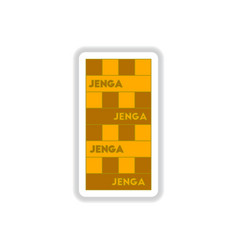 In paper sticker style jenga vector