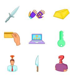 Malfeasance icons set cartoon style vector