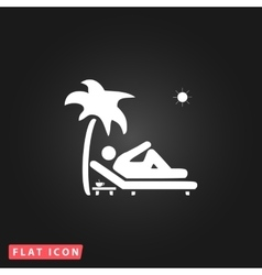 Man relaxing on a deck chair under palm tree vector