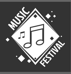 Music festival labels of musical notes vector