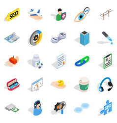 Physician icons set isometric style vector