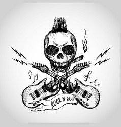Rock and roll skull guitar hand drawing vector