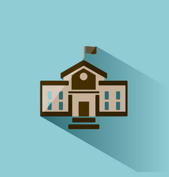 School building icon with shadow on blue vector