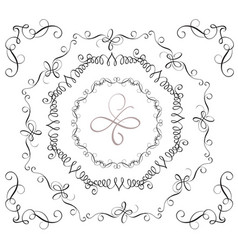 set of decorative vintage frames and corners for vector image vector image