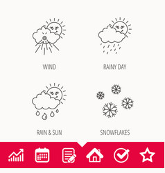 Snowflakes sun and rain icons vector