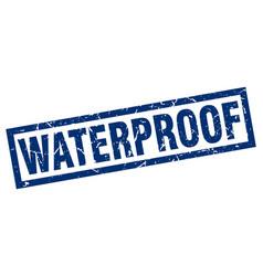 Square grunge blue waterproof stamp vector