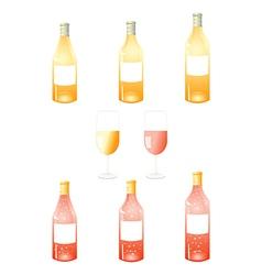 White wine bottles pack vector