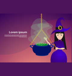 witch making potion in big pot happy halloween vector image vector image