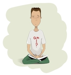 Young man meditating vector image vector image