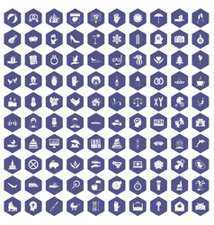 100 joy icons hexagon purple vector