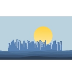 Silhouette of building at morning vector image
