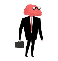 Businessman brain genius very clever manager brain vector