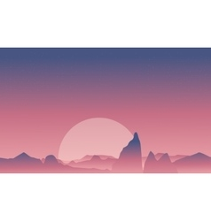 Silhouette of cliff and desert landscape vector