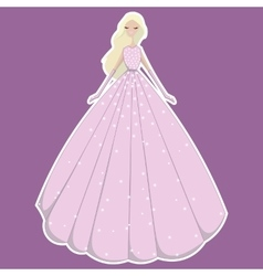 blonde girl in pink dress in sequins and vector image