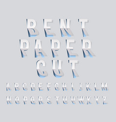 bent paper cut font template alphabet vector image