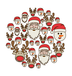 Colorful round pattern of christmas faces vector