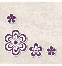 vintage background with paper flowers vector image