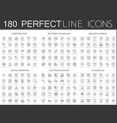 180 modern thin line icons set of cyber security vector image