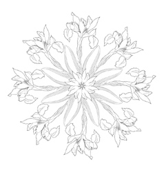 Ornamental round with irises vector