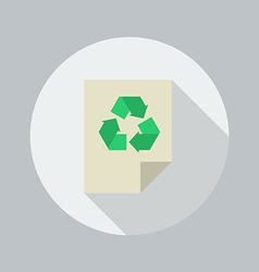 Eco flat icon recycle document vector