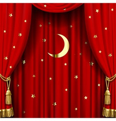 Red curtain with gold tassels vector