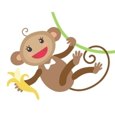 Cute monkey with banana vector